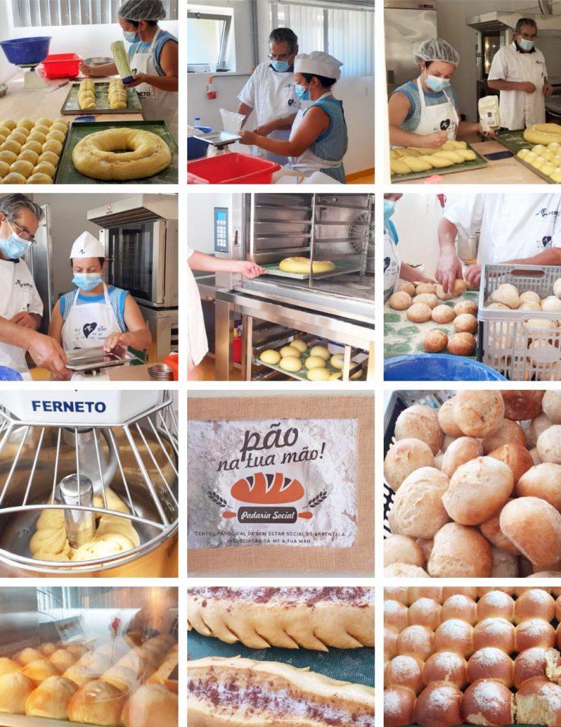 Fotos da Reabertura da Padaria Social: pessoas, pães, fornos...